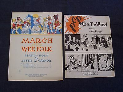 vintage sheet music - Pop Goes the Weasel & March of the Wee Folk, piano songs