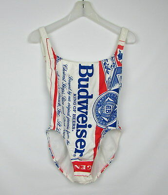 c06957a676933 Vintage 80s BUDWEISER Red White Blue High Cut One Piece Swimsuit Size 11 12
