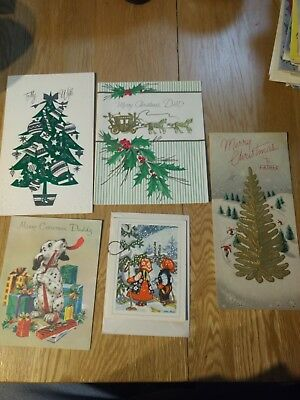 Vintage Christmas Card Unused lot of 5 cards tree, horse, dalmatian, children