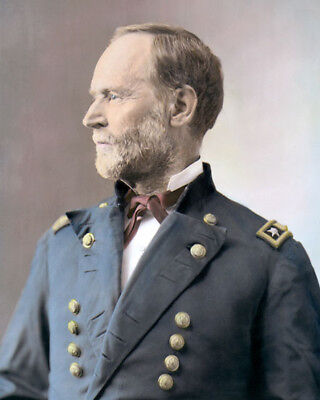 "MAJOR GENERAL WILLIAM T. SHERMAN CIVIL WAR 8x10"" HAND COLOR TINTED PHOTOGRAPH"