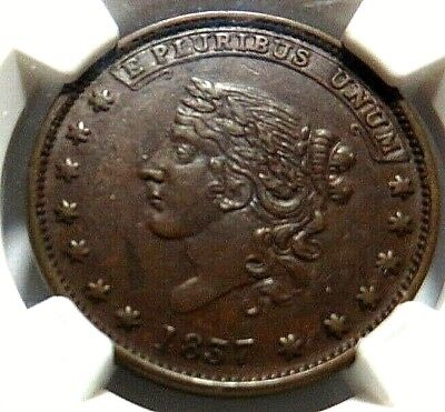 1837 Liberty - Not One Cent - Hard Times - Ht - 49 - Low - 34 - Ngc - Au - 58 -
