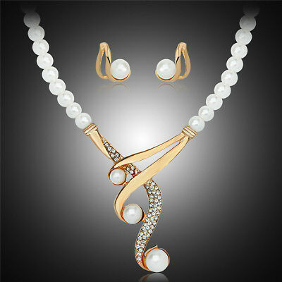 New Bridal Wedding Party Prom Pearl Rhinestone Necklace Earrings Jewelry Set