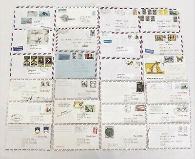 Vintage Airmail Envelopes Lot of 24 Stamped Cancelled Postage Worldwide #AMW102