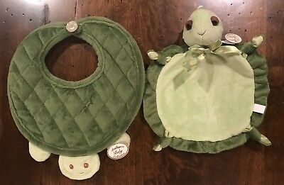 NEW Bearington Baby Collection Bib and Security Blanket Wee Tiggles Green Turtle