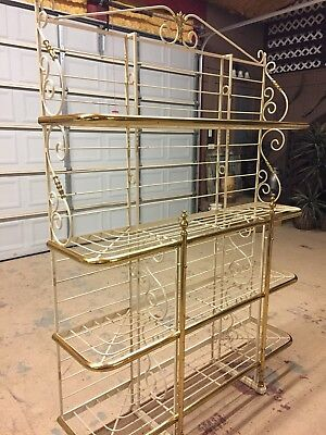 Antique Perfit Fils French Bakers Rack Cream Colored Wrought-Iron And Brass