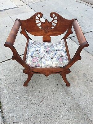 Victorian Lady's Chair, Carved, Upholstered