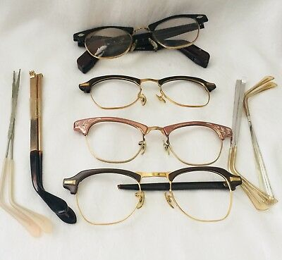 VINTAGE LOT OF VARIOUS TEMPLE ARMS & Eyeglasses Frames PARTS AS-IS-AS-SHOWN
