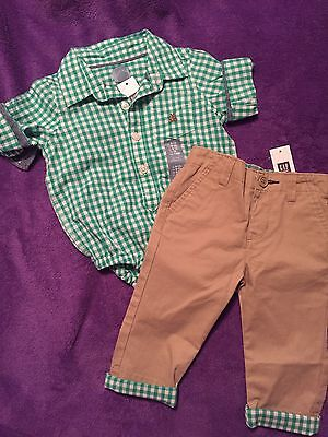 Baby Gap Boy 6-12m Outfit Plaid Shirt With Matching Pants NWT Free Shipping