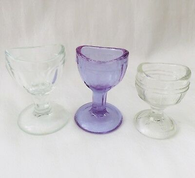 Antique LOT of 3 Glass Eye Wash Cups - Two Clear and One LAVENDER