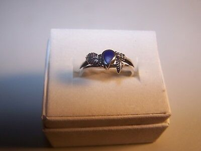 Vintage Native American Blue Lapis Gemstone Solitaire W/accents Sterling Silver