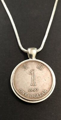 Vintage Coin Hong Kong Necklace 1997 $1 Silver Plated Mount Birthday