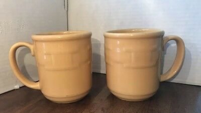 Longaberger Pottery Woven Traditions Lot of 2 Coffee Mugs Butternut Yellow 12oz