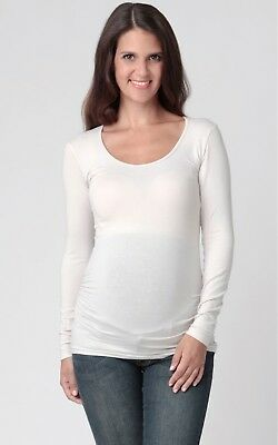 Ripe Maternity Tube Tee Scoop Neck Long Sleeve Size L Ivory Excellent Condition