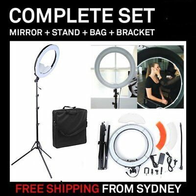 "Dimmable LED Ring Light 18"" 5500K With Diffuser Light Stand Bag For Video Photo."