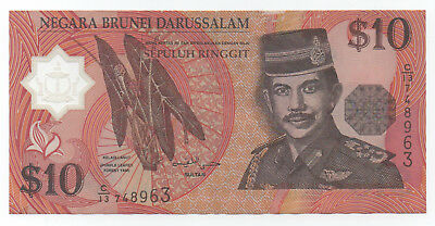 BRUNEI $10 Polymer (1998) Circulated F-VF Condition Valuable Note!