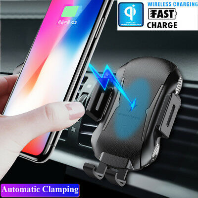Automatic Clamping Wireless Charger Car Charger Mount Holder for Samsung iPhone