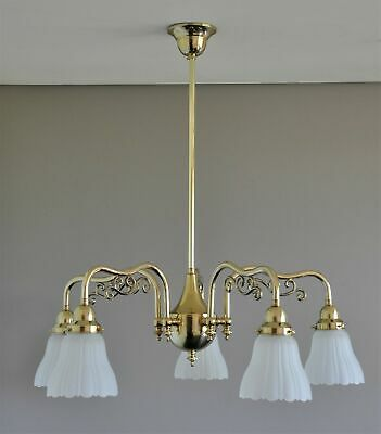 Ashley-Victorian 5 Arm Pendant Light-Solid Polished Brass-Frost Shade-Chandelier