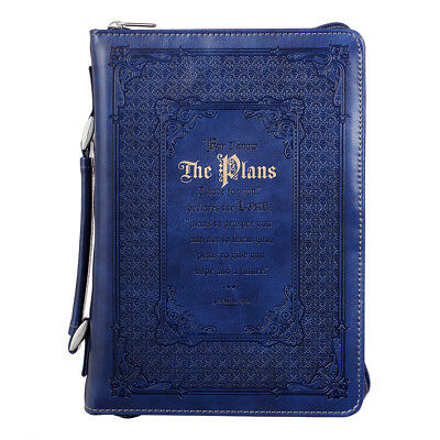 The Plans in Blue Jeremiah 29:11 Bible Cover, Size Medium