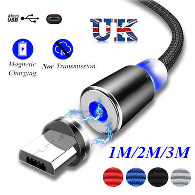 UK 2A Micro USB Charging Cable LED Magnetic Adapter Charger For Samsung  Android