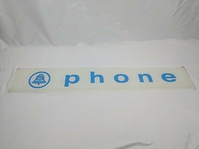 Vintage White Bell System Telephone Booth Glass Sign - phone antique vtg