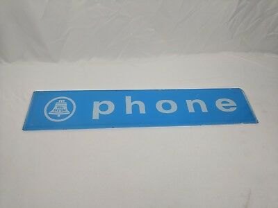 Vintage Blue Bell System Telephone Booth Glass Sign - phone antique vtg