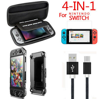 4Pcs/Set Hard Case Bag+Shell Cover+Charge Cable+Protector For Nintendo Switch