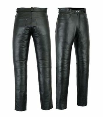 Mens Leather Jeans Pants trouser Breeches Quality Cow Plain Leather Black BLUF