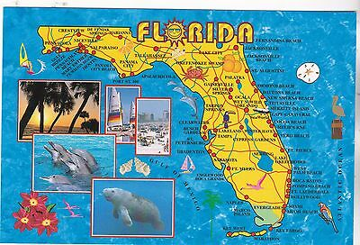 """*Postcard-""""Sunshine State"""" */Map of The Big State of Florida/ (XT61)"""