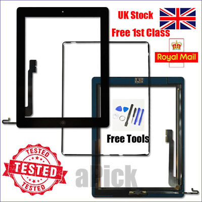 For iPad 4 A1458 A1459 A1460 Screen Black Digitizer Touch Replacement Button IC