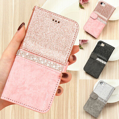 Crystal Bling Diamond Sparkly Leather Flip Wallet Case Cover For iPhone 7 8 6 5S