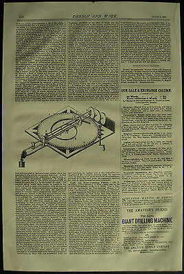 1878 Design & Work Inventions Moseley's Calculating Machine Patent Engraving