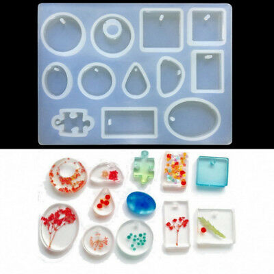12x Silicone Pendant Mold Jewelry Resin Necklace Mould DIY Craft Making tool