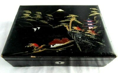 VINTAGE JAPANESE Black Mount Fuji Handpainted Lacquer Musical Jewellery Box USED