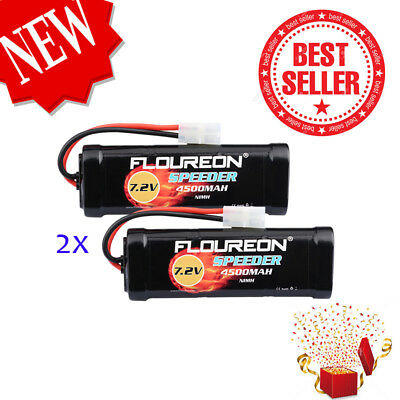 2PCS Floureon 7.2V 4500mAh Ni-MH Rechargeable Battery For RC Helicopter Jouet EU
