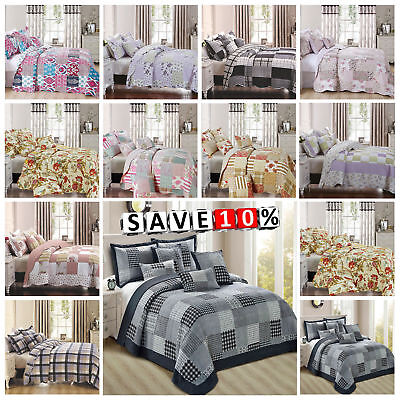 3 Piece Embossed Quilted Patchwork Bedspread;Bedding Throws With 2 Pillow Shams