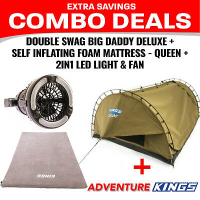 Adventure Kings Double Swag Big Daddy Deluxe + Self Inflating Foam Mattress - Qu