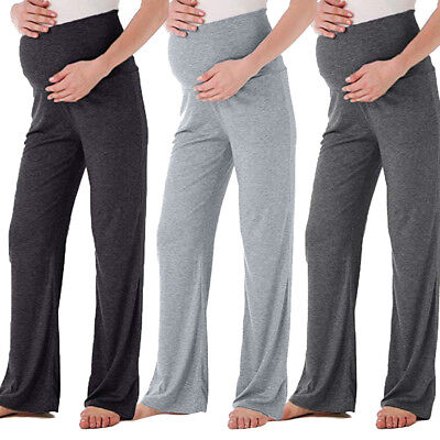 6c7a4664a6181 Women's Maternity Wide Straight Lounge Pants Stretch Pregnancy Loose  Trousers