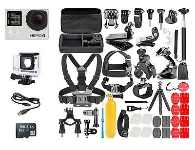 GoPro Hero4 Silver Edition Touchscreen + 50Pcs Extreme Sports Package Bundle!