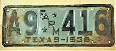 1936 Texas A9 * Farm* 416 License Plate Auto Car Vehicle Tag Item #1677