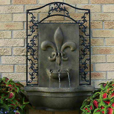 Sunnydaze French Lily Electric Outdoor Wall Fountain - Florentine Stone w/ Pump