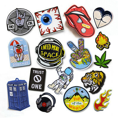 Embroidery Patches Sew On Iron On Badge Applique Clothes Craft Sticker Transfer