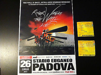 ROGER WATERS The Wall Poster + Biglietti 2 Concert Tickets PADOVA ROMA Italy '13