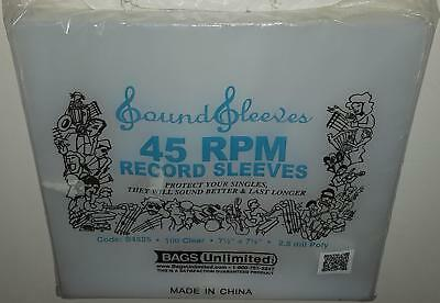 "Bags Unlimited 7"" Polyethylene 45Rpm Record Sleeves 100 Pack"