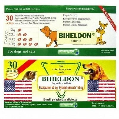 Biheldon Cat Dog puppy Wormer 30 Tablets Broad Spectrum Dewormer US SELLER!!!!!!