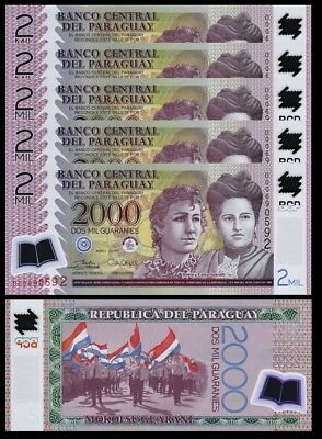 Paraguay 2000 Guaranies 2017 (2018) , UNC, 5 Pcs LOT , P-228 NEW SIGN , POLYMER