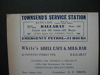 Townsend Service Station Ballarat. White's Grill Cafe Milk Bar E T White