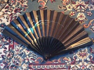 Victorian Antique Hand Fan With Black Silk In Good Condition.1878.rare.vintage.