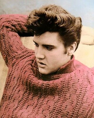 "ELVIS AARON PRESLEY KING OF ROCK & ROLL 1958 8x10"" HAND COLOR TINTED PHOTOGRAPH"