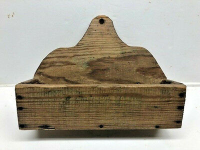 1870's Antique Southern Yellow Pine Wall Hanging Wooden Candle Box Square Nails