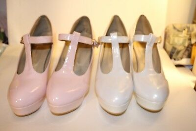 NO NAME Pink & White Patent T Strap 4 in Heel w/ 1 in platform Size 13 (48)